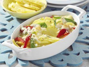 Ananas-Kartoffel-Gratin mit Ziegenkäse Rezept