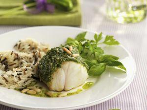 Anglerfisch mit Reis und Pestosoße Rezept