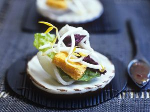 Asiatische Vorspeise mit Tofu, Sprossen und Kroepoek Rezept