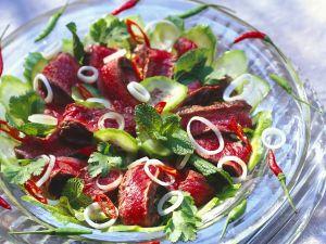 Asiatischer Gurkensalat mit Steakstreifen Rezept