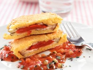 Auberginen-Piccata mit Gemüse-Tomatensauce Rezept