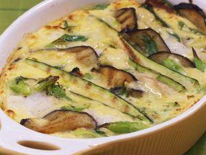 Auberginen-Zucchini-Gratin mit Kabeljau Rezept