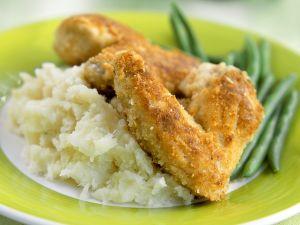 Backhähnchen mit Kartoffelpüree und Bohnengemüse Rezept
