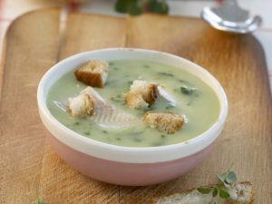Bärlauchcremesuppe mit Fisch und Croutons Rezept