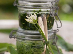 Bärlauchpesto mit Brennnessel und Sonnnenblumenkernen Rezept