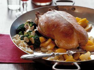 Barbarie-Ente mit Pfirsichen und Brokkoli Rezept