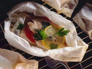 Barsch en papillote Rezept