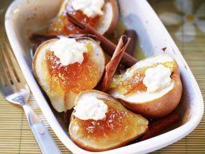 Birnen mit Orangenkonfitüre und Zimt Rezept