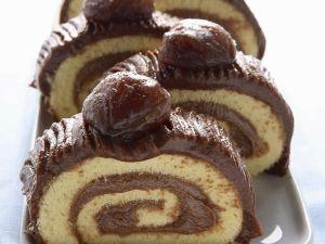 Biskuitrolle mit Maronicreme Rezept