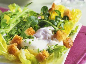 Blattsalat mit pochiertem Ei und Croutons Rezept
