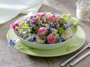 Blattsalat mit Sprossen und essbaren Blüten Rezept