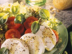 Blattsalat mit Tomaten und Mozzarella Rezept