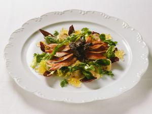 Blattsalat mit Trüffel und Entenbrust Rezept