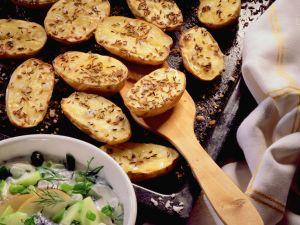 Blechkartoffeln mit Heringstopf Rezept