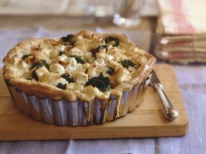 Blumenkohl-Brokkoli-Kuchen mit Mandelsplittern Rezept