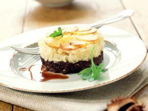 Blutwursttörtchen mit Sauerkraut und Kartoffeln Rezept