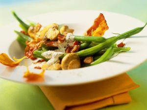 Bohnen-Specksalat mit Pilzen Rezept