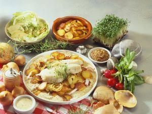 Bratkartoffeln mit Fisch und Senfsauce Rezept