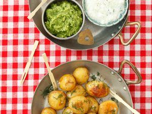 Bratkartoffeln mit verschiedenen Dips Rezept