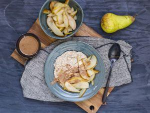 Buchweizengrütze mit Honig-Birnen und Haselnussmus Rezept