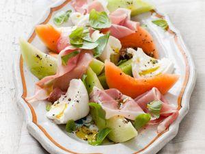 Bunter Melonen-Schinkensalat Rezept