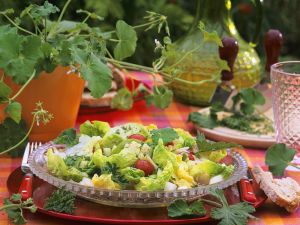 Bunter Sommersalat mit Duftgeranienblättern Rezept