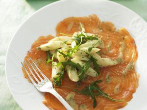 Carpaccio vom Lachs mit Spargelsalat und Rucola Rezept