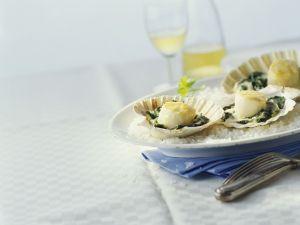 Champagner-Jakobsmuscheln mit Spinat Rezept
