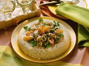 Champignon-Gemüsepfanne mit Reis Rezept