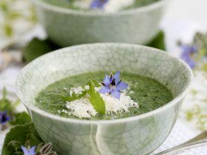 Cremige Borretschsuppe mit Parmesan Rezept