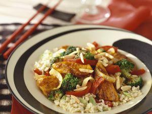 Curry-Gemüse-Hähnchen mit Reis Rezept