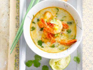 Curry-Kokossuppe mit Garnelen Rezept
