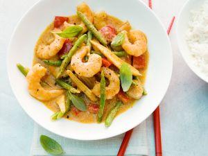 Curry mit Garnelen, Paprika und Bohnen Rezept