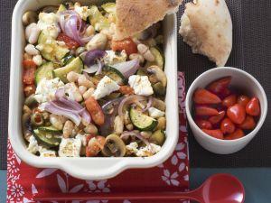 Dicke Bohnen mit Schafskäse und Gemüse Rezept