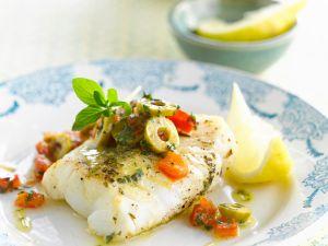 Dorsch mit Oliven und Tomate Rezept
