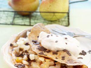 Dünne Pfannkuchen mit Birnen Rezept