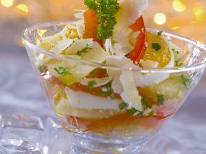 Eier-Kartoffel-Salat mit Paprika und Parmesan Rezept