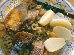 Ente mit Wein-Olivensauce Rezept