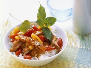 Entenbrust mit Ananas auf Reis Rezept
