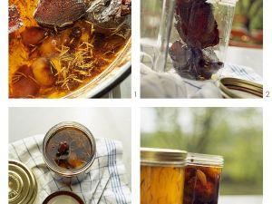 Entenconfis mit Schalotten in Gläser abfüllen Rezept