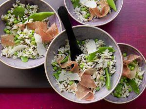 Erbsen-Reis mit Parmaschinken Rezept