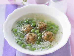 Erbsen-Reis-Suppe mit Hackklößchen Rezept