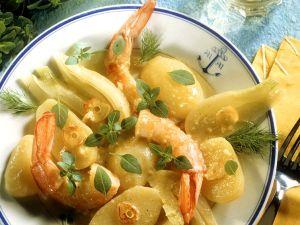Fenchel-Kartoffel-Gemüse mit Riesengarnelen Rezept