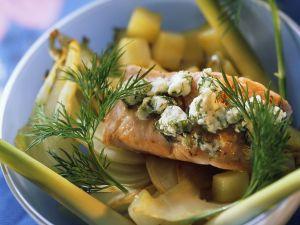 Fenchel-Kartoffelgemüse mit Lachs Rezept