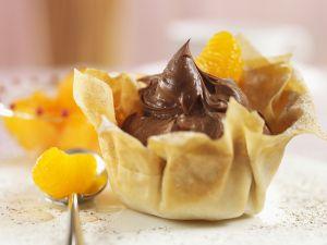Filotörtchen mit Mandarinen und Schokocreme Rezept