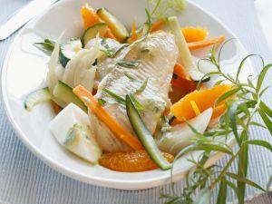 Fisch auf Gemüse mit Estragon Rezept