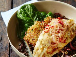 Fisch auf Linsen mit Rösti Rezept