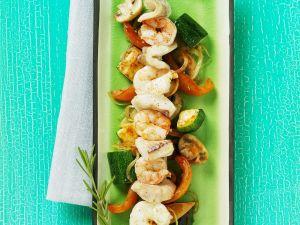 Fisch-Garnelen-Spieß mit Gemüse Rezept