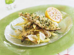Fisch in Kräuterpanade und Wachsbohnensalat Rezept