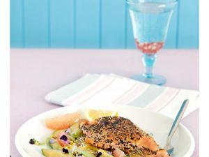 Fisch in Sesam mit Avocado, Sellerie und Grapefruit Rezept